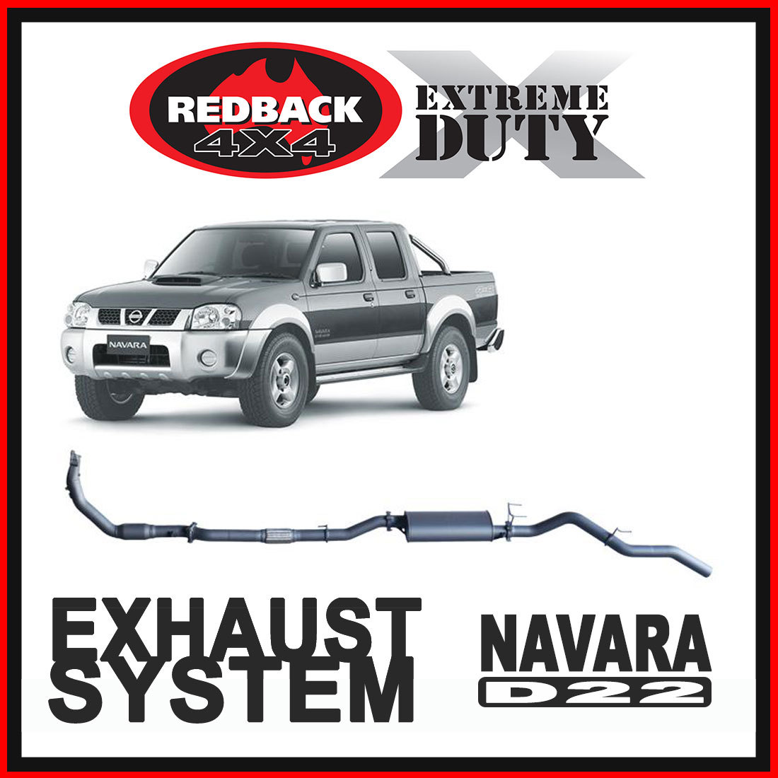 Nissan Navara D22 3L 2001 - 2006 Redback Extreme Duty Exhaust image